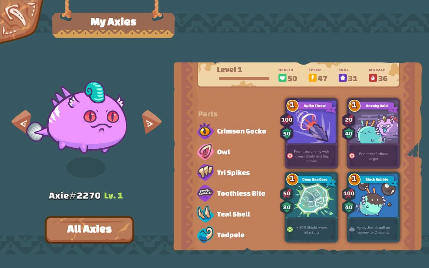axie infinity exemple de personnage
